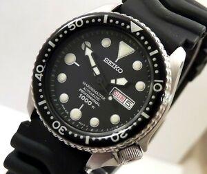 Seiko Black MarineMaster 1000 Pro Diver Day Date Automatic Watch Custom Mod 6309