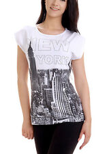 Damen Sommer Shirt New York Baumwolle Top T-Shirt Weiß Gelb Flieder Motiv