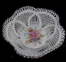 "Vintage Romania Porcelain Basket Weave 5"" Bowl, Dresden Flowers, ExC"
