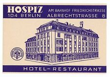 Hotel colle alla stazione Friedrichstr. Berlino luggage label VALIGIA ADESIVI x0288