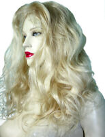 Human Hair Full Lace Wig Remi Remy Indian Long Bodywave Wavy Light Blonde 613