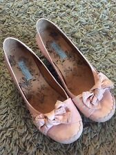 LADIES LIGHT PINK NEXT LOW WEDGE HEEL SHOES WITH BOW DETAIL SIZE 5 REASONABLE