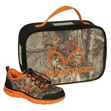Realtree Eagle Camo Boys Tennis Shoes, Youth Kids +Free Lunch Box, Orange