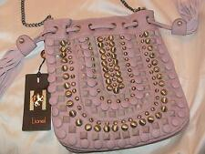 Lionel embellished mauve pink pleather purse bag button studs chain straps NWT