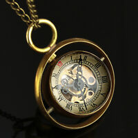 Mens Pocket Watch Mechanical Black Hands Ball Antique Chain Hand-winding Luxury