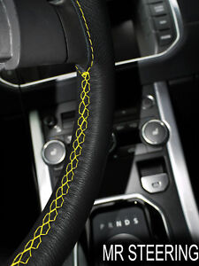 FOR CHEVROLET MASTER 35+ TRUE LEATHER STEERING WHEEL COVER YELLOW DOUBLE STITCH