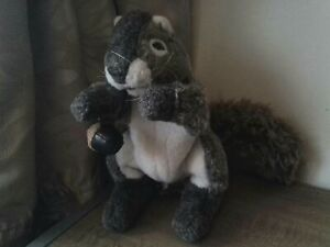Folkmanis Gray Grey Squirrel animal hand Puppet with acorn and bushy tail USA