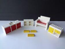 Vintage Lego Kitchen Cupboards w/drawers that open, Sink, Dresser, Bed Lot