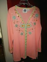 Storybook Knits Sweater Women's Size L  Gorgeous Colors Zipper Cardigan Sweater