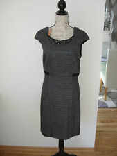 COMMA w. NEU Gr:: 40 Tip TOP Kleid Etuikleid grau anthrazit edel Strass