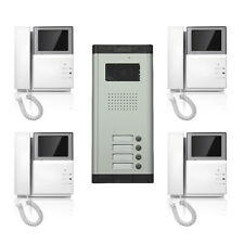 Apartment Wired Video Door Phone 4.3'' Audio Visual Intercom Entry System 4 Unit