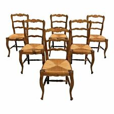 1910s Vintage French Country Rush Seat Walnut Dining Chairs - Set of 6