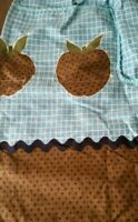 Vintage 1960s Half Apron Teal Apple Pockets Ric Rac Brown Printed