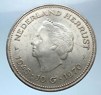 1945-1970 Netherlands Kingdom Queen JULIANA Authentic Silver Coin i73970