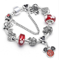ARMBAND BETTELARMBAND MICKEY MOUSE CHARMS DAMEN ARMKETTE KINDER SCHMUCK 18 cm