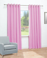 Eyelet Thermal Energy Saving Blackout Ready Made Curtains Pink 117cm Width X 13