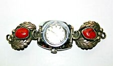 Vintage Timex Watch Signed MT Michael Thompson? Sterling Silver Coral Band Tips