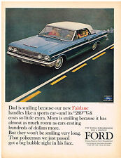 Vintage 1964 Magazine Ad For Ford Fairlane 500 Coupe With 289 V-8 Engine