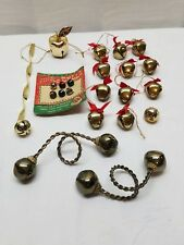 Vintage Christmas Tree Ornaments Jingle Bells Lot Metal Brass Decorations Silver