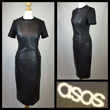 Asos Black Illusion Faux Leather Pencil Dress Size 8 Very Flattering