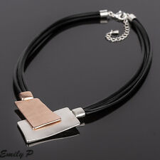 Statement Necklace Silver & Rose Gold Tone Necklace Black Leather Hand Finished