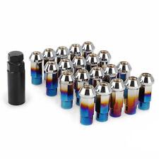 20 Neo Chrome Steel Acorn Lug Nuts Tuner Key M12x1.25 for Infiniti Nissan Suzuki
