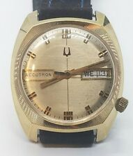 Great Vintage 10k Rolled Gold Plate Bulova Accutron Mens Wrist Watch