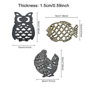 Trivet Mat Kitchen Counter Cast Iron Double Sides Hot Pot Pads Animal Shape Home