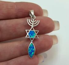 Blue Opal MESSIANIC SEAL Grafted In Sterling Silver Pendant Menorah David Star