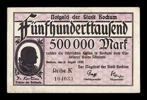 B-D-M Alemania Germany Notgeld Bochum 500000 Mark 1923 MBC VF