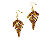 Plated French Wire Dangle, Hook Earrings Usa Fern Real Leaf 24k Gold Dipped /