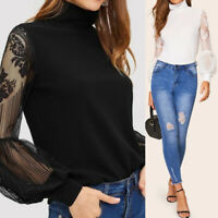 Women Long Puff Sleeve Turtleneck Lace Patchwork Top Cocktail Party Blouse Shirt