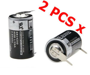 2 x Tabbed 3.6V 1200mAh ER14250 LI-SOCl2 1/2AA Battery Non-rechargeable 2 Tabs