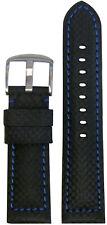 20mm Panatime Black Carbon Fiber Style Watch Band w/Blue Stitch 125/75 20/18