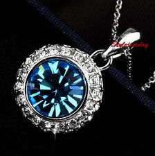 Silver Aquamarine Blue Round Drop Women Necklace Made With Swarovski Crystal N78