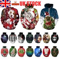 UK Mens 3D Digital Print Christmas Jacket Casual Hoodie Sweater Xmas Tops S-3XL