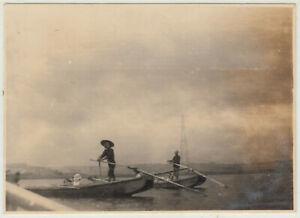 Antique Photo / Men Oaring Boats / Japanese / c. 1930s