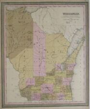Original 1849 Mitchell Map WISCONSIN Indian Boundary Carver's Claim Wagon Roads