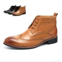 New Casual Lace up Ankle Boots Mens Leather Boots Formal Dress Brogue Shoes hT54