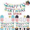 65Pcs Kit Rainbow Foil Latex Balloons Crown Star Alphabet Letters Party Decor US