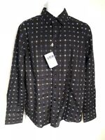 House Of Lords Mens Black With Blue Geo Pattern Long Sleeve Button Up Size M.