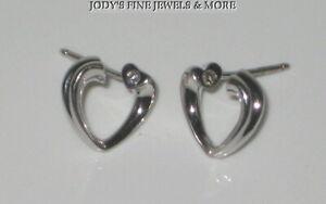 TIFFANY & CO. ESTATE 18K WHITE GOLD PALOMA PICASSO HEART DIAMOND EARRINGS