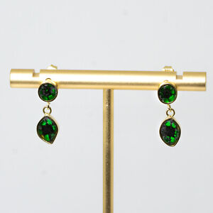 18K Yellow Gold Natural Colombian emerald trapiche Drop Earrings