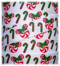 7/8 MAGICAL CHRISTMAS PEPPERMINT CANDY CANE GROSGRAIN RIBBON FOR HAIRBOW BOW 5YD