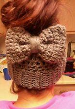 Messy Bun Beanie Ponytail Hat headband clips Barrettes crochet #4