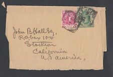CAPE OF GOOD HOPE 1890s UPRATED POSTAL STATIONERY WRAPPER CAPETOWN TO USA