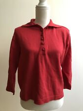 Vintage 80s Kl By Karl Lagerfeld Sweater Red Collared Button Women's Size 6