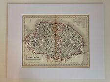Antique Engraved Map Norfolk Sidney Hall Travelling Atlas Railways Mounted c1848