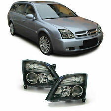 Clear black finish headlights front lights for Opel Vectra C + Signum