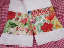 MICHAEL MILLER FABRIC /2 Custom Decorated HAND TOWELS RED WHITE